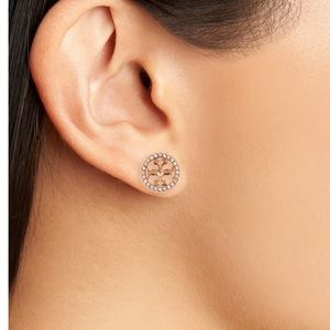 Tory Burch crystal and gold logo earrings